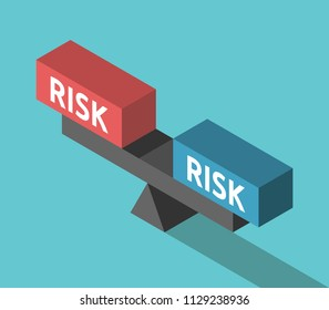 Various risks weighing on balance. Isometric scales with two blocks. Investment, decision and choice concept. Flat design. Vector illustration, no transparency, no gradients