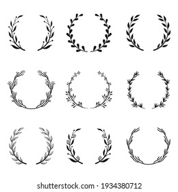 Various round floral and laurel frames set vector