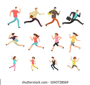 Various running people. Hurrying active male, female and kids vector set. Man and woman run, sport jogging exercise, athlete people training illustration