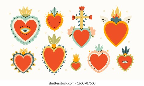 Various Sacred hearts. Set of Traditional Mexican hearts. Hand drawn colored trendy vector illustration. All elements are isolated