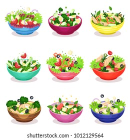 Various salads set, vegetable, fish and meat salad, healthy eating concept vector Illustrations