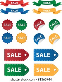 Various sale tags and stickers