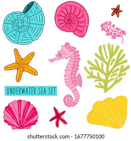 Various scallops, seashells, clam, coral, stars and pink seahorse. Vector set. Illustration for summer scrapbooking, ocean gift wrap, kids fashion prints, beach apparel.