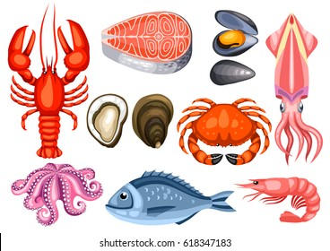 Various seafood set. Illustration of fish, shellfish and crustaceans.