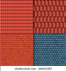 various seamless textures of roof tiles
