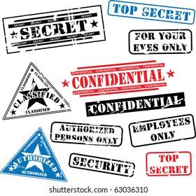Various security rubber stamps (top secret, confidential etc.)