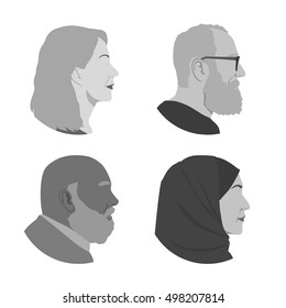 various senior people profile set, avatar icons, aged people face viewed sidewise