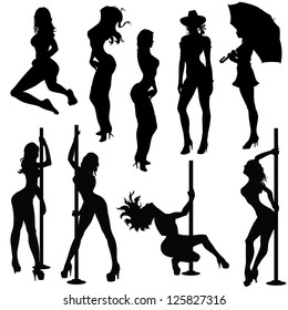 Various sexy female poses in black and white silhouettes. All elements in each file is separate for easy editing.