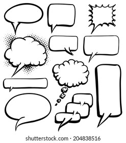 Various shapes of Black and white speech bubbles