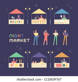 Various shops and guests in the night market. flat design style vector graphic illustration set