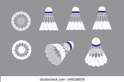 Various Sides Shuttlecock Badminton Vector Illustration