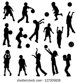 Various silhouettes of children playing and shooting basketball. Clothing and body parts are separate elements grouped for easy color additions.