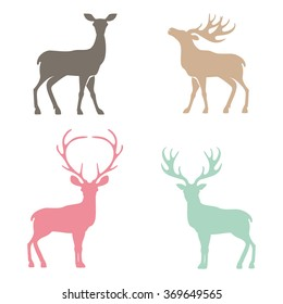Various silhouettes of deer isolated on white background, christmas deers