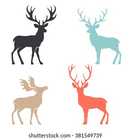 Various silhouettes of deer isolated on white background.