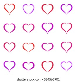 Various simple hand drawn vector heart icons