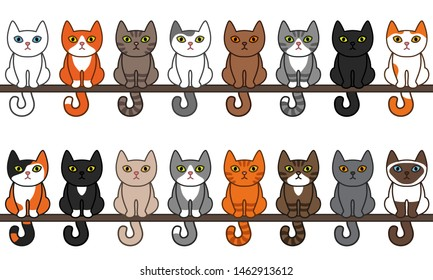 Various sitting cats seamless border set. Cute and funny cartoon kitty cat vector illustration set with different cat breeds. Pet kittens of different colours.
