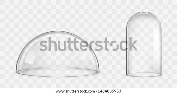 Various size and spherical shape glass domes or bell jars 3d realistic vectors isolated on transparent background. Laboratory tool, exhibition display case, dust cover, kitchen glassware illustration