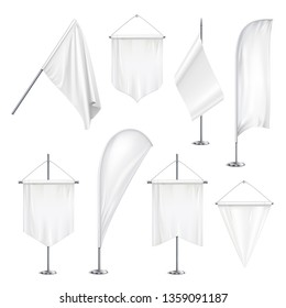 Various sizes shapes pennants banners flags  white blank hanging and on pole stands realistic set vector illustration