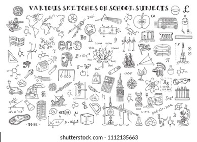 Various sketches on school subjects. Hand sketches on the theme of Maths and geometry. Vector illustration. Doodle set.