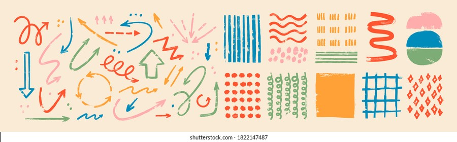 Various sketchy Doodle Arrows, Direction pointers Shapes and Objects. Freehand colorful Lines, curves, dots, spiral. Brush stroke style. Grunge texture. Hand drawn abstract Vector set