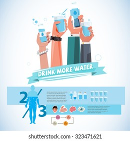 Various smart Hands holding bottle and cup of drink water. healthy drink water concept - vector illustration