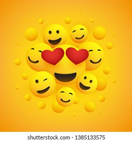 Various Smiling Happy Emoticons with Heart Shaped Eyes in Front of a Yellow Background, Vector Design, Concept Illustration