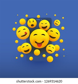 Various Smiling Happy Yellow Emoticons in Front of a Smartphone Screen, Vector Concept Illustration