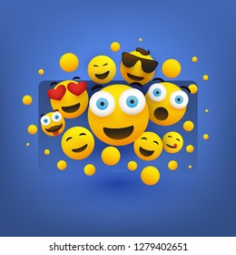 Various Smiling Happy Yellow Emoticons in Front of a Smart Television Screen, Vector Concept Illustration