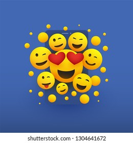 Various Smiling Happy Yellow Emoticons with Heart Shaped Eyes in Front of a Smartphone Screen, Vector Design, Concept Illustration