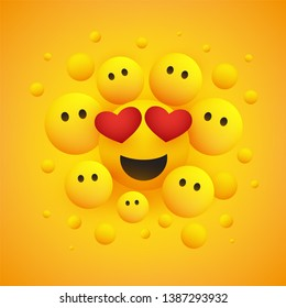 Various Smiling Happy Yellow Emoticons with Heart Shaped Eyes in Front of a Yellow Background, Vector Design, Concept Illustration