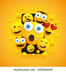 Various Smiling Happy Yellow Emoticons in Front of a Smartphone Screen on a Yellow Background, Vector Concept Illustration