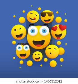 Various Smiling Happy Yellow Emoticons on Blue Background, Vector Concept Illustration