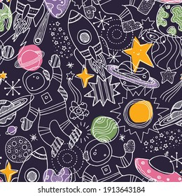 Various space elements colored seamless pattern. Linear graphic. Scandinavian minimalist style. Astronaut, planet, spaceship, star. Vector illustration.