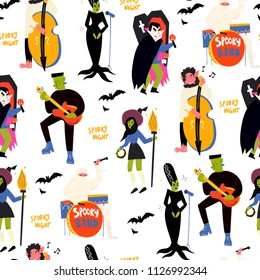 Various spooky music artists. Halloween hand drawn vector seamless pattern