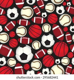 various sport balls seamless color black pattern eps10