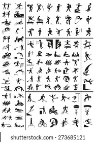 various sports black people icons on a white background