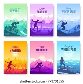 colorful covers with various sports rest day vector brochure cards set. Extreme on nature template of flyear, magazines, poster, books, banners. Active lifestyle invitation concept. Layout modern page