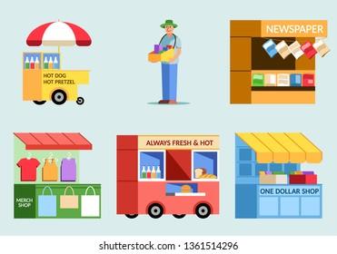 Various of street food vendor flat illustration.