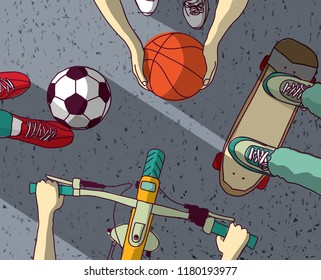 Various street sports skateboarding basketball Cycling football top view