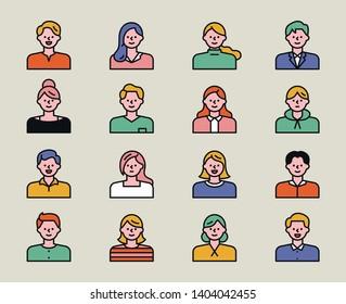 various style of avatar. flat design style minimal vector illustration