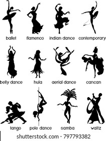 Various style dancing. Silhouettes of dancing people.