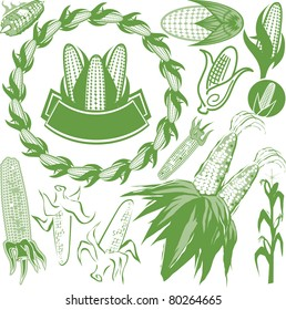 Various styles of corn-themed clip art and icons