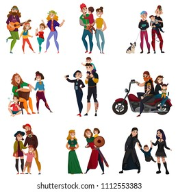 Various subcultures, families of hippie, rastafarians, bikers, punks, metalheads, goths, hipsters cartoon set isolated vector illustration