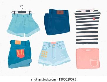 Various summer clothes. Shorts, skirt, jeans pants, t-shirt. Hand drawn vector set. Colored trendy fashion illustration. Stamp texture. All elements are isolated