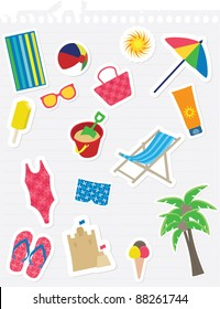 Various summer theme stickers on lined note paper