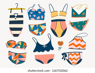 Various swimsuits. Hand drawn colored vector set. All elements are isolated
