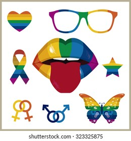 Various symbols from the gay scene highlighted by a mouth with rainbow