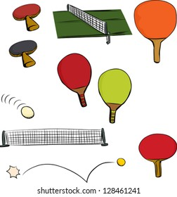 Various table tennis game objects on isolated white background