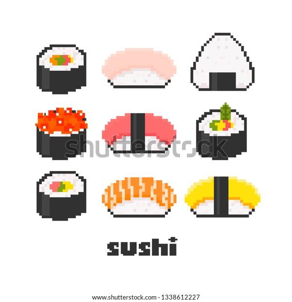 Image Vectorielle De Stock De Various Tasty Sushi Pixel Art Hand 1338612227