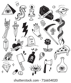 Various tattoo element doodle isolated on white